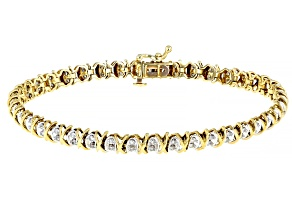 White Diamond 10K Yellow Gold Tennis Bracelet 1.00ctw