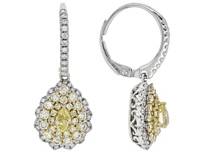 Natural Yellow And White Diamond 14K White Gold Dangle Earrings 1.65ctw