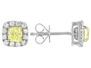 Natural Yellow And White Diamond 14K White Gold Stud Earrings 1.30ctw