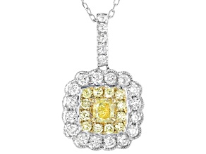 Natural Yellow And White Diamond 14K White Gold Cluster Pendant With Chain 1.34ctw