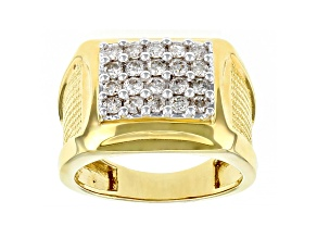 White Diamond 14k Yellow Gold Over Sterling Silver Mens Ring 1.00ctw
