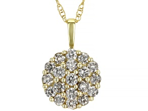 Diamond 10K Yellow Gold Cluster Pendant With Chain 1.00ctw