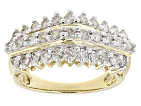 White Diamond 10K Yellow Gold Pyramid Ring 1.00ctw