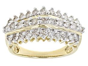 Diamond 10K Yellow Gold Pyramid Ring 1.00ctw