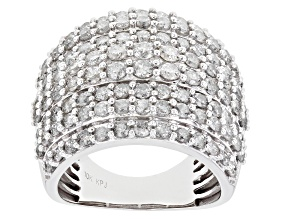 White Diamond 10K White Gold Multi-Row Cocktail Ring 3.50ctw