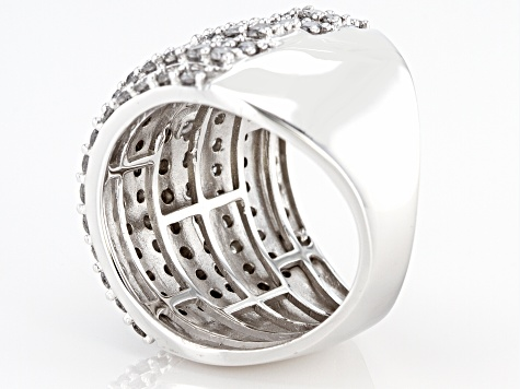 White Diamond 10K White Gold Multi-Row Cocktail Ring 3.50ctw