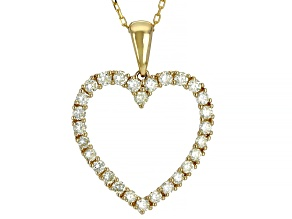 Natural Yellow Diamond 14K Yellow Gold Heart Pendant With Chain 1.00ctw