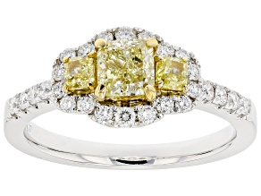 Natural Yellow And White Diamond 14K White Gold 3-Stone Ring 1.21ctw