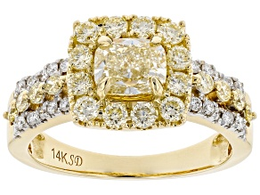Natural Yellow And White Diamond 14K Yellow Gold Halo Ring 1.94ctw