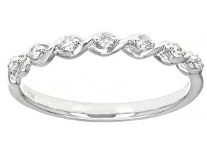 White Diamond 10K White Gold Band Ring 0.10ctw