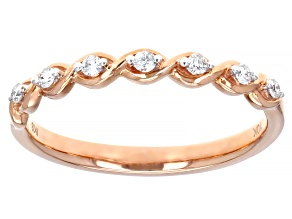 White Diamond 10K Rose Gold Band Ring 0.10ctw