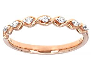 White Diamond 10K Rose Gold Band Ring 0.10ctw
