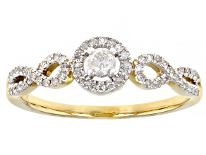 White Diamond 10K Yellow Gold Ring 0.25ctw