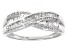 White Diamond 10K White Gold Crossover Ring 0.33ctw