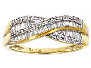 White Diamond 10K Yellow Gold Crossover Ring 0.33ctw