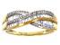 White Diamond 10K Yellow Gold Crossover Ring 0.33ctw