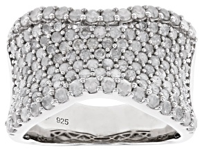 White Diamond Rhodium Over Sterling Silver Wide Band Ring 1.85ctw
