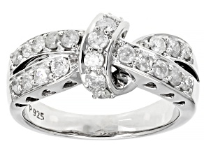 White Diamond Rhodium Over Sterling Silver Crossover Band Ring 0.90ctw