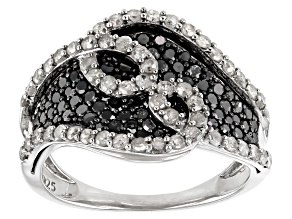 Black And White Diamond Rhodium Over Sterling Silver Bypass Ring 1.50ctw