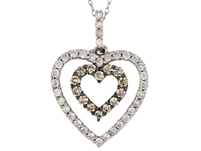 Champagne And White Diamond 10K White Gold Heart Pendant With Chain 0.50ctw