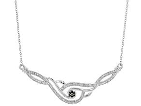 Black Diamond Accent Rhodium Over Sterling Silver Necklace