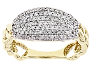 White Diamond 10K Yellow Gold Link Ring 0.50ctw