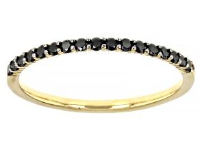 Black Diamond 10K Yellow Gold Band Ring 0.20ctw