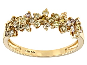 Natural Multi-Color Diamond 14K Yellow Gold Flower Band Ring 0.60ctw