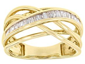 White Diamond 10K Yellow Gold Crossover Ring 0.25ctw
