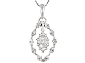 White Diamond 10K White Gold Cluster Pendant With Chain 0.40ctw