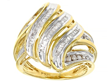 Picture of White Diamond 18K Yellow Gold Over Sterling Silver Cocktail Ring 0.50ctw