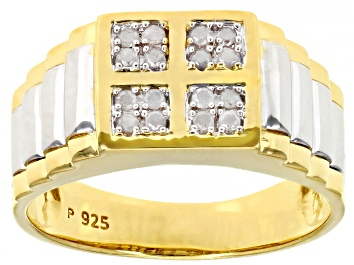 Picture of White Diamond Rhodium And 18K Yellow Gold Over Sterling Silver Mens Ring 0.15ctw