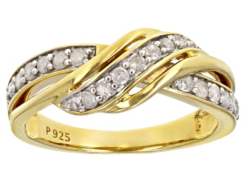 Picture of White Diamond 18K Yellow Gold Over Sterling Silver Crossover Band Ring 0.40ctw