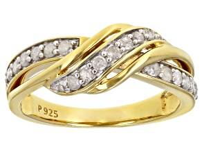 White Diamond 18K Yellow Gold Over Sterling Silver Crossover Band Ring 0.40ctw