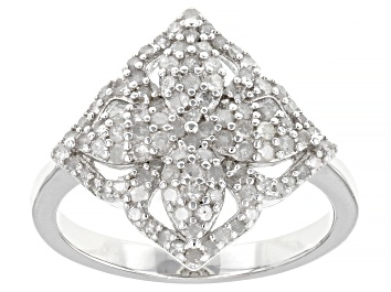 Picture of White Diamond Rhodium Over Sterling Silver Cluster Ring 0.63ctw