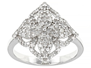 White Diamond Rhodium Over Sterling Silver Cluster Ring 0.63ctw