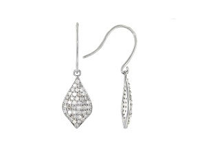 White Diamond Rhodium Over Sterling Silver Dangle Earrings 0.88ctw