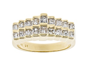 White Diamond 14K Yellow Gold Pyramid Ring 0.75ctw
