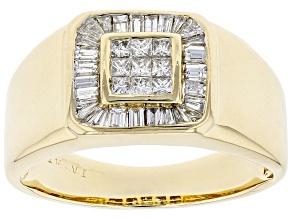 White Diamond 14K Yellow Gold Mens Ring 1.00ctw