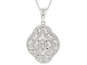 White Diamond 10K White Gold Cluster Pendant With Chain 0.14ctw
