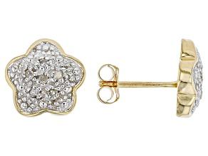 White Diamond 14K Yellow Gold Flower Stud Earrings 0.10ctw