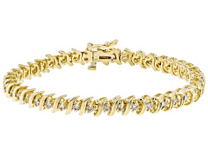 White Diamond 14K Yellow Gold Tennis Bracelet 2.80ctw