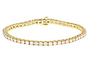 White Diamond 14K Yellow Gold Tennis Bracelet 4.00ctw