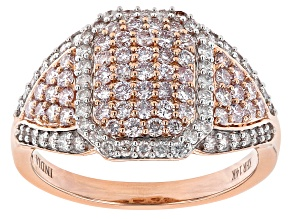 Natural Pink And White Diamond 14K Rose Gold Cluster Ring 1.00ctw