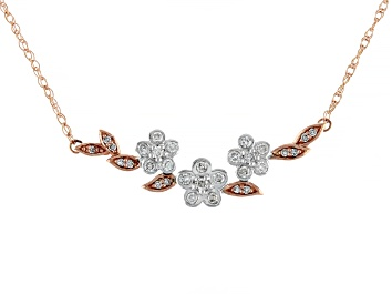 Picture of White Diamond 14K Two-Tone Gold Floral Necklace 0.25ctw