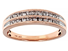 White Diamond 10K Rose Gold Band Ring 0.20ctw