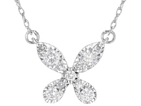 White Diamond 10K White Gold Floral Necklace 0.20ctw
