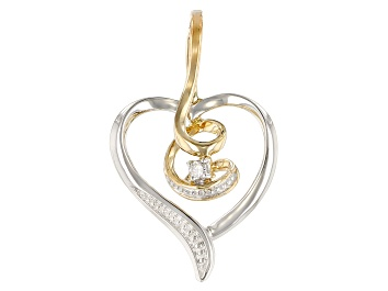 Picture of White Diamond Accent 10K Two-Tone Gold Heart Pendant