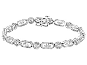 White Diamond 10K White Gold Tennis Bracelet 1.50ctw