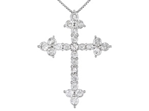 White Diamond 10K White Gold Cross Pendant With Chain 1.00ctw
